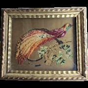 Victorian Bird Woolwork (bird of paradise)