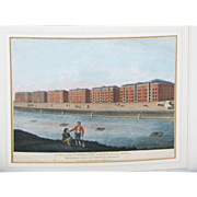 C1794-1812 Georgian Hand Coloured Engraving London Docks