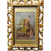 Charming C1890 Crystoleum in Good Carved Giltwood Frame