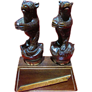 C1900-20 Black Forest Carved Bear Bottle Stoppers with stand