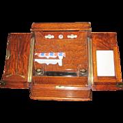 Edwardian Tiger Oak Correspondence Box / Writing Cabinet