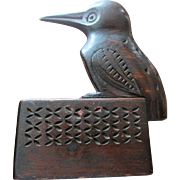 Unusual Antique Kingfisher Bird Snuff Box