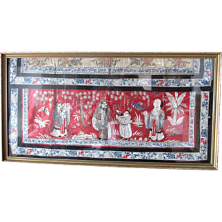 Fine C1900 Antique Japanese Silk Thread and Woolwork Picture