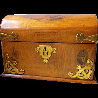 Fine C1900 Mauchline Stationary Desk Box Scottish Views