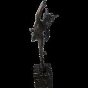 C1900 Desk Bronze on Marble Plinth Mercury