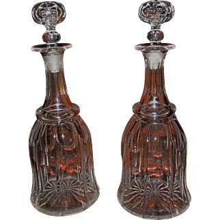 Fine Pair of Victorian Cut Glass Decanters