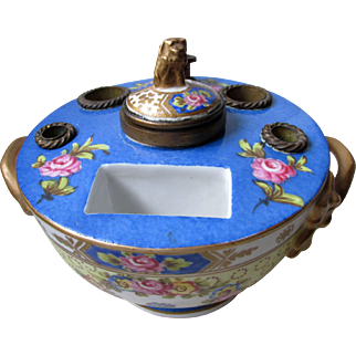 Fine C1890 French Porcelain Ink Well Desk Tidy Standish