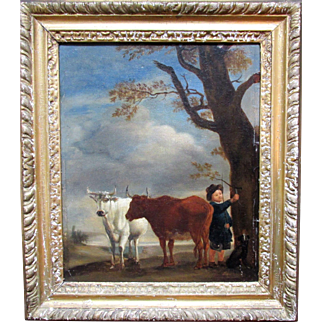 C1800 English School Oil On Canvas Cows with Boy Herder