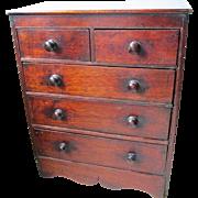 C1840 English Mahogany Miniature Apprentice Piece Cabinet Collectors Jewellery Cabinet