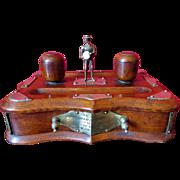 Charming Oak English C1888 Presentation Desk Standish Ink Wells Pen Stand etc