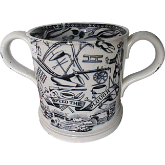 Late C19th Staffordshire God Speed The Plough Mug