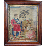 C1870 English Woolwork in Rosewood Frame