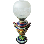 VERY FINE VICTORIAN MAJOLICA OIL LAMP WITH MESSENGER BURNER FITTINGS