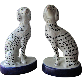 Pair C1880 Staffordshire Dogs Dalmations (unusual pattern)