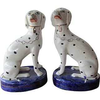 Pair C1860-70 Staffordshire Dogs Dalmations