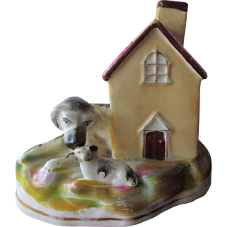 Carming C1850 Staffordshire Pottery Dog Cottage Hound and Pup