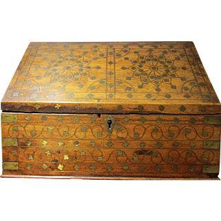 C1900  Antique British Raj Colonial Indian Correspondence Box / Stationary Box