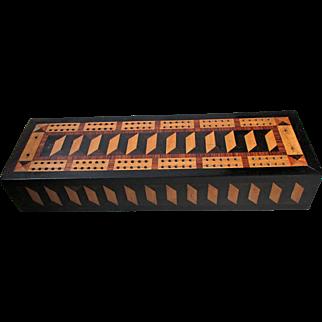 Victorian Tunbridge Ware Games Box & Contents Dominoes Cribbage Etc