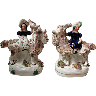 Fine Pair Of Staffordshire Pottery Royal Children on Goats
