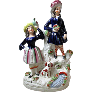 Charming Victorian Staffordshire Pottery Group