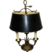 C1920s Vintage French Bouillotte Lamp Tole Shade
