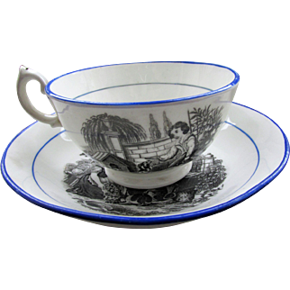 C1810 English Black Transfer Ware Cup & Saucer Rabbits & Dogs