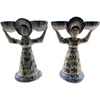 Two  Antique French Faience Salts