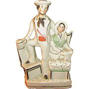 UNUSUAL C1860 ANTIQUE STAFFORDSHIRE SAILOR AND WIFE GROUP