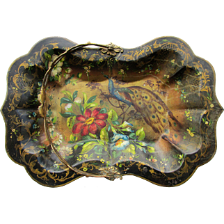 Antique Regency Tole Peinte Basket Flowers & Peacock