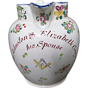 Large C1790-1810 English Masonic Creamware Marriage Jug
