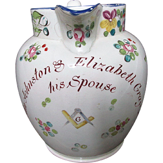 Large C1790-1810 English Masonic Creamware Marriage Jug