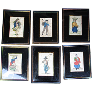 C1820 Fine Set of Six Spanish / South American Hand Coloured Engravings