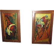 SIGNED  1958 PAIR OF OIL PAINTINGS ON CANVAS AMERICAN HORSE RACING SCENES ABSTRACT