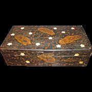 FINE VICTORIAN PAPIER MACHE LACQUERED TABLE BOX