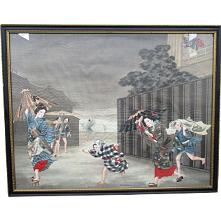Two Fine Quality Antique Japanese Paintings On Silk