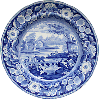 C1820 Pearlware Staffordshire Blue White Transfer Plate