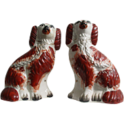 Victorian C1870 Pair of Staffordshire Pottery Dogs