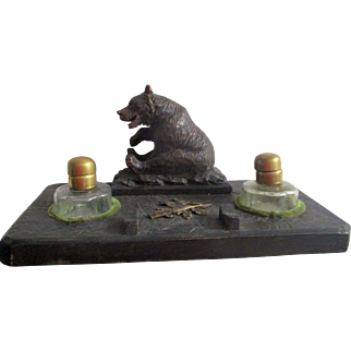 C1900 Black Forest Bear Desk Tidy / Standish / Ink Wells