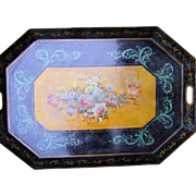 Antique Peint Tole Tray Flowers