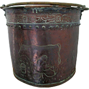 Charming C1890 Arts Crafts Pail Milking Cows and Armorial Decoration