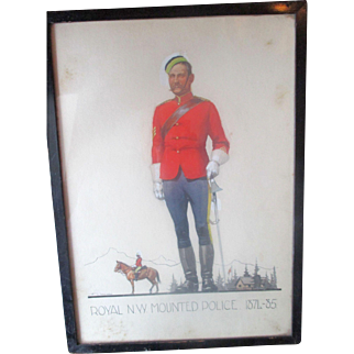 """Henry George Cawthorn 1897-1941 Watercolour Canadian """"Royal N.W. Mounted Police"""""""