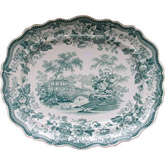 "C1850 Large Staffordshire Davenport ""Royal Cottage"" Platter"