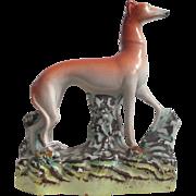 Victorian Staffordshire Pottery Greyhound Hunting Dog Figure