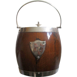 Victorian English Oak & Silver Plate Biscuit Barrell