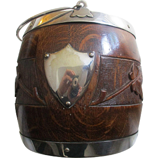 Victorian Carved Oak & Silver Plate Biscuit Barrell