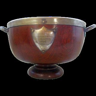 C1920 Oak & Silver Plate Table Fruit Bowl