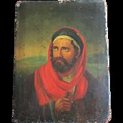 C1800 ANTIQUE OIL ON PANEL RELIGIOUS DISCIPLE