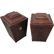Pair English George 111 C1790 Mahogany Boxes