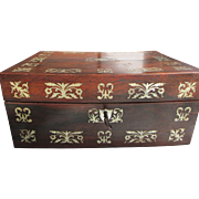 C1870 English Rosewood & Mother of Pearl Jewellery / Ladies Sewing Box.