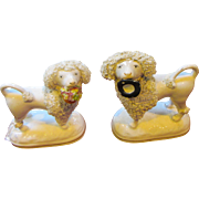 Pair C1860 Staffordshire Flower Basket Lion Dogs / Poodles